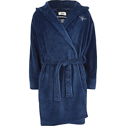 Boys blue RI logo dressing gown