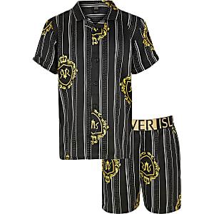 Zwarte twinningpyjama set met print voor jongens