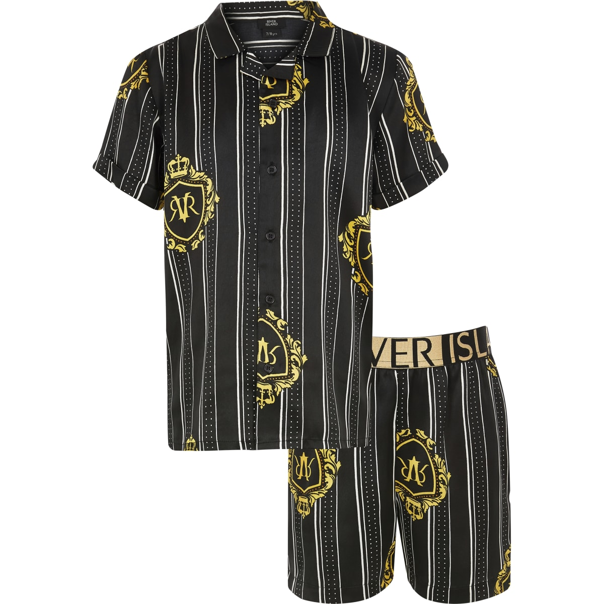 Boys black satin printed family pyjama set