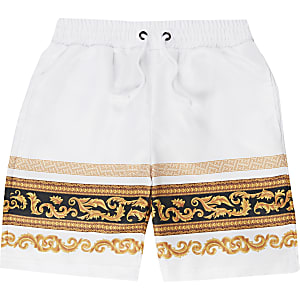 Criminal Damage – Weiße Barock-Shorts