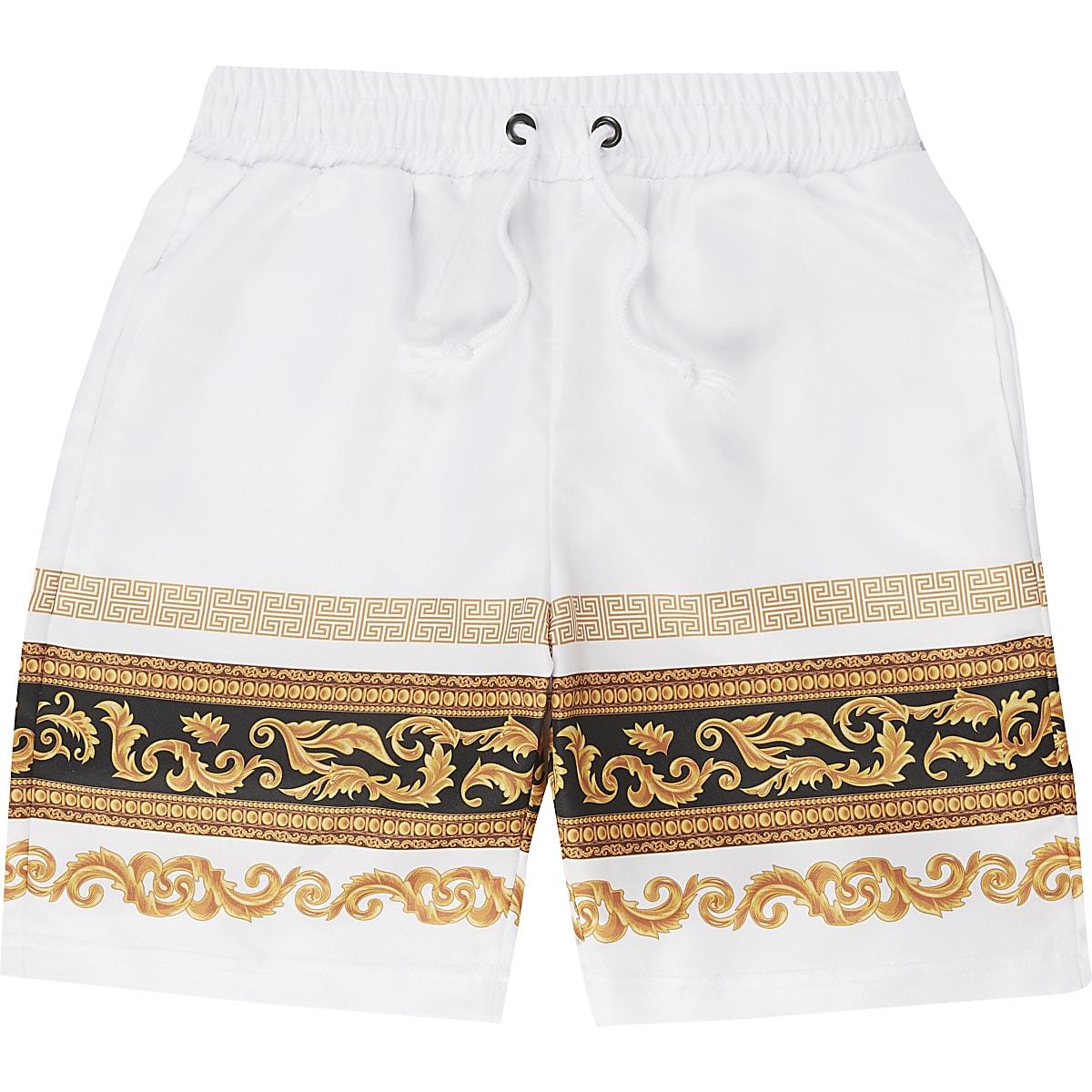 Boys Criminal Damage white baroque shorts