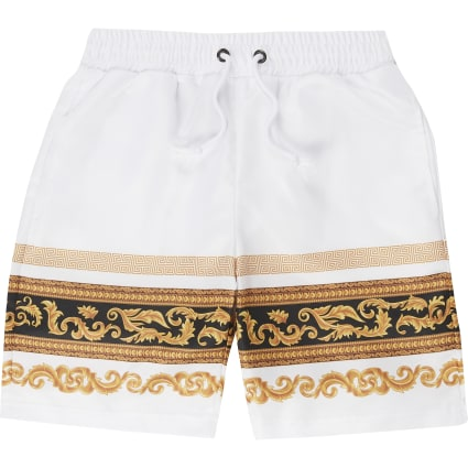 Boys Criminal Damage white baroque shorts