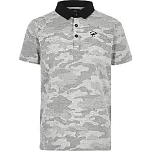 Grijs poloshirt met camouflageprint voor jongens