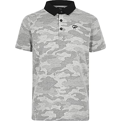 Boys grey camo polo shirt