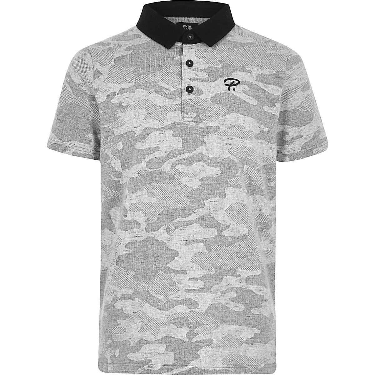 Boys grey camo polo shirt