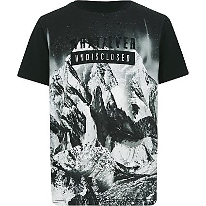 Boys black mountain print T-shirt