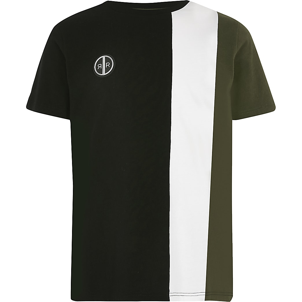 Boys khaki vertical blocked tee