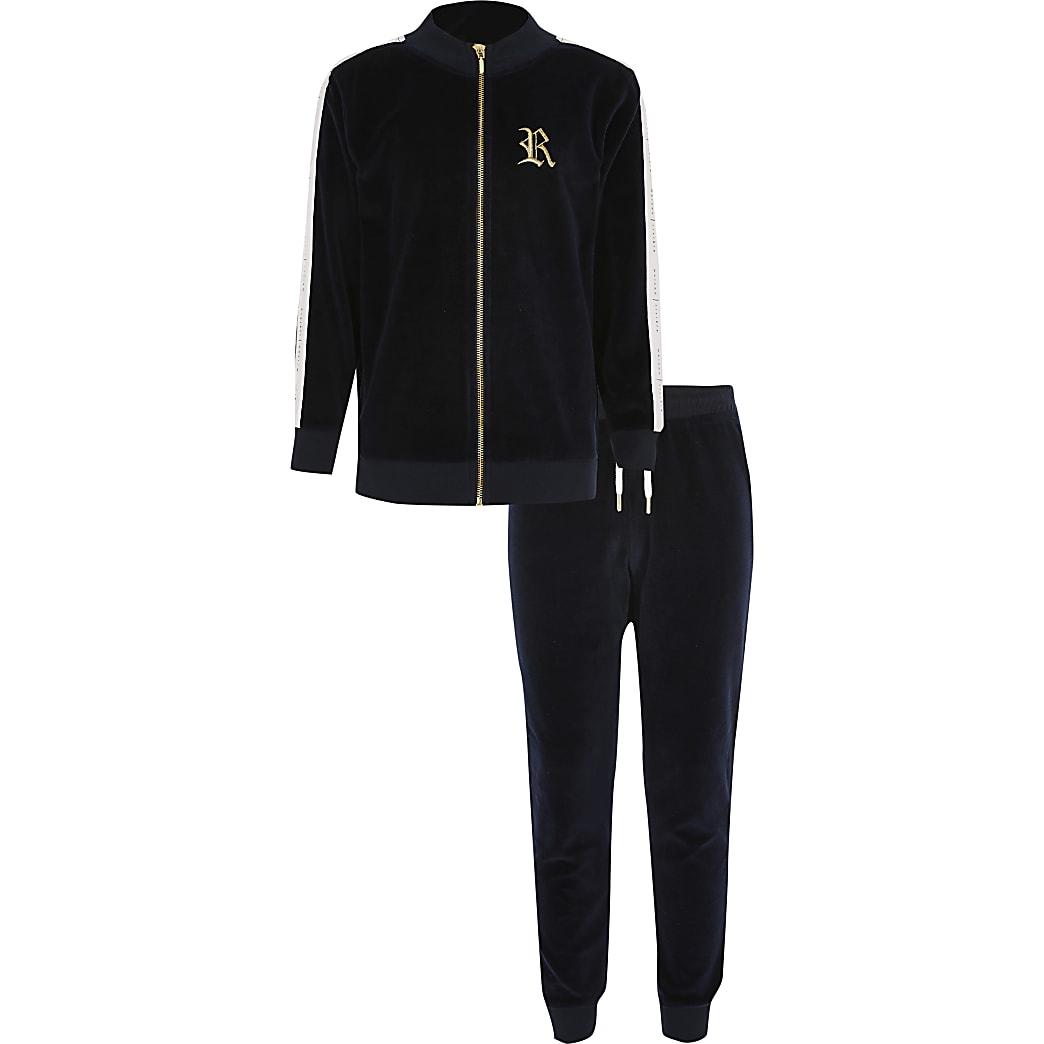Kapuzenpullover-Outfit aus Velours in Marineblau für Jungen
