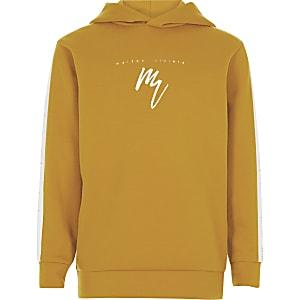 Boys yellow 'Maison Riviera' tape hoodie