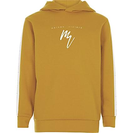Boys yellow Maison Riviera tape hoodie