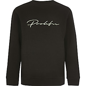 Boys black 'Prolific' ribbed jumper