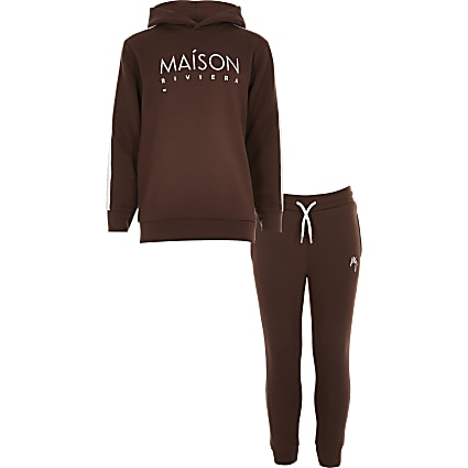 Boys brown Maison Riviera hoodie outfit
