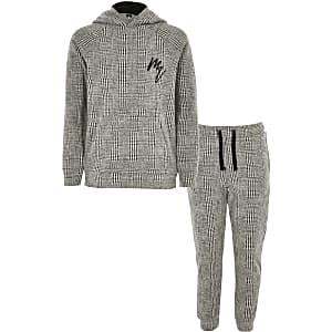 Maison Riviera - Outfit met grijze geruite hoodie voor jongens