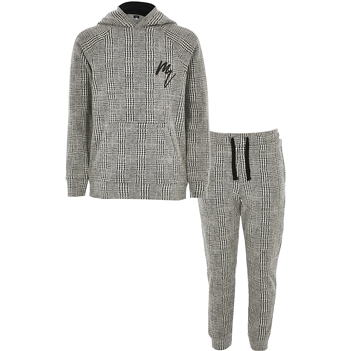 Boys grey Maison Riviera check hoodie outfit