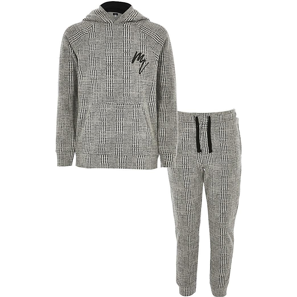 Maison Riviera - Tenue grise à carreaux avec capuche pour garçon