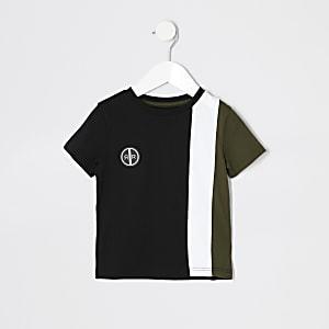 T-shirt colour block kaki à manches courtes mini garçon