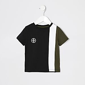 Mini - Kaki T-shirt met kleurvlakken en korte mouwen voor jongens