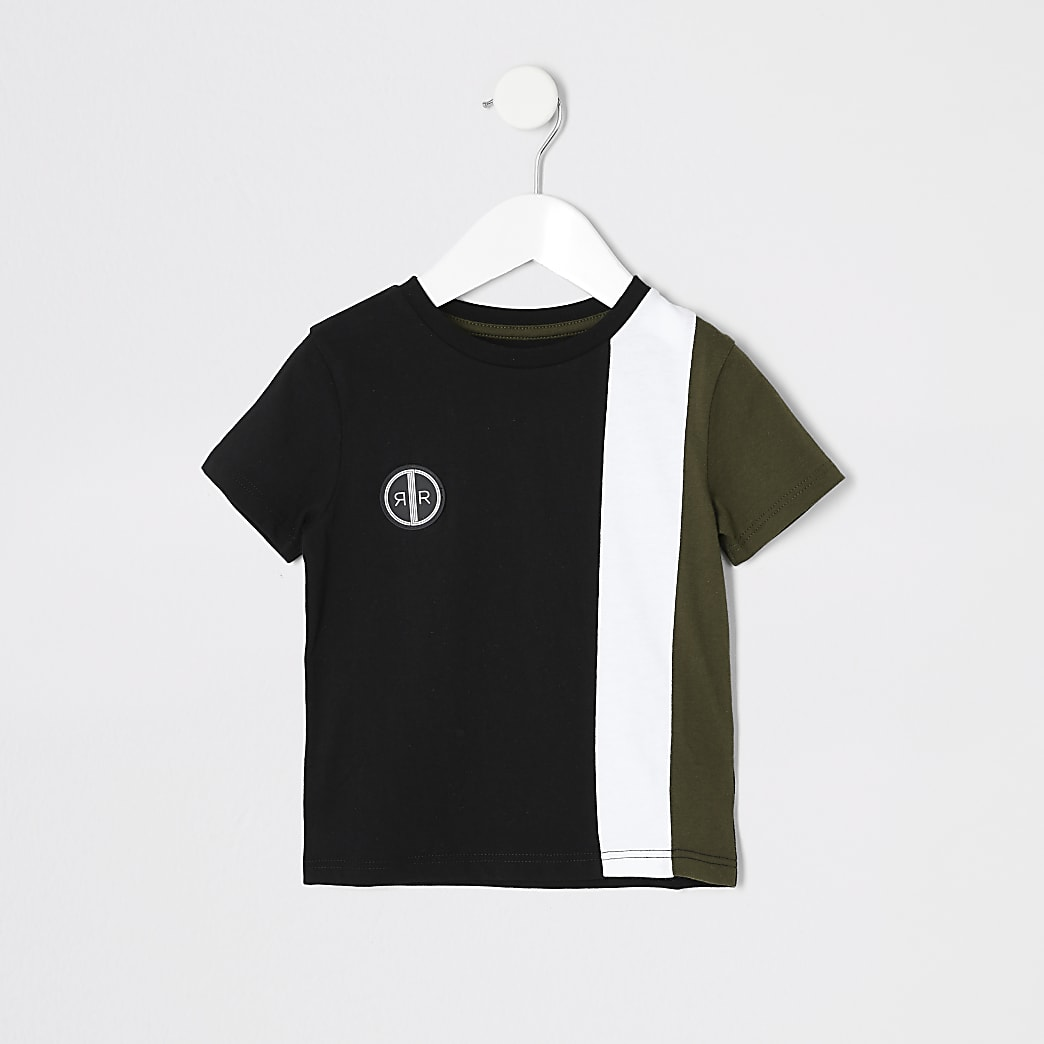 Mini boys khaki blocked short sleeve T-shirt