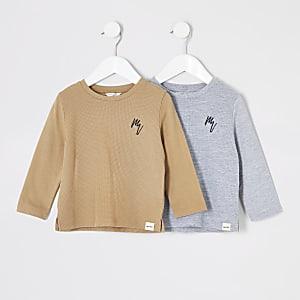Mini - Set van 2 T-shirts met lange mouwen en wafeldessin voor jongens