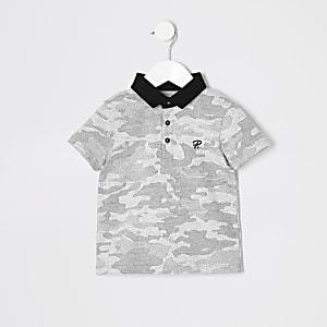 Graues Poloshirt mit Camouflage-Print für kleine Jungen