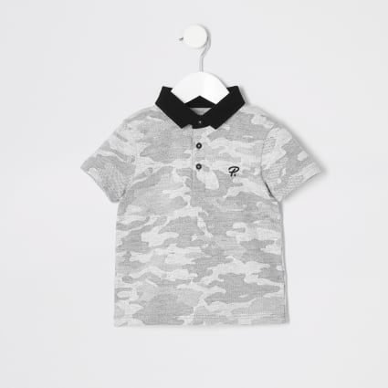 Mini boys grey camo print polo