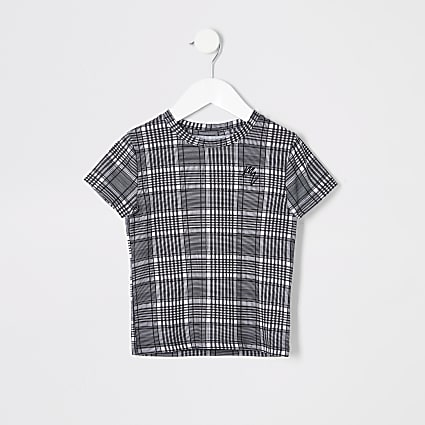 Mini boy grey check tee
