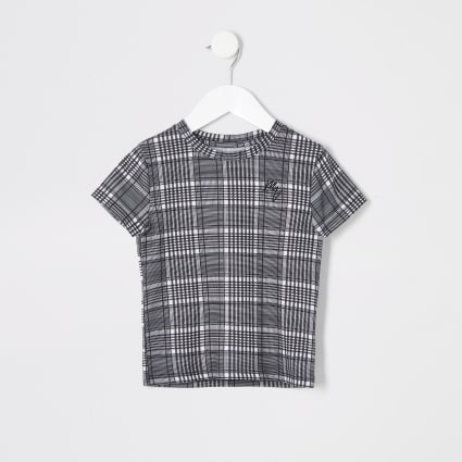 Mini boy grey check tee