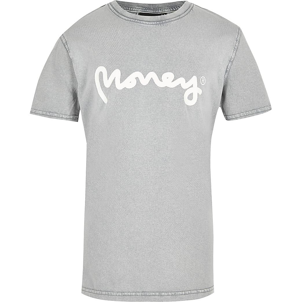 Boys white Money bleach print T-shirt