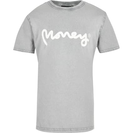 Boys white Money bleach print T-shirt