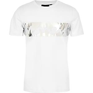 T-shirt à imprimé « Money » métallisé blanc pour garçon