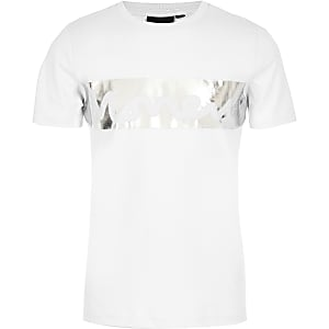 Money - Wit T-shirt met folieprint voor jongens