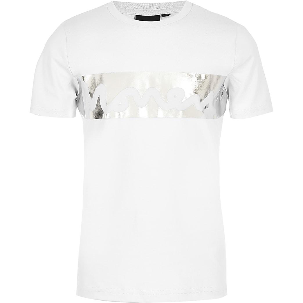 Money - Wit T-shirt met folieprint voor jongens