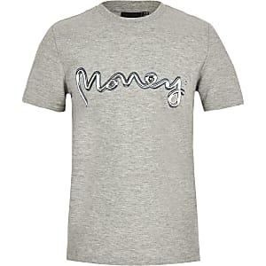 Boys grey marl Money logo T-shirt