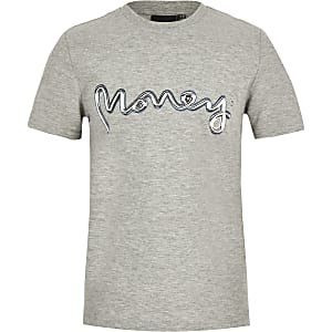 Gemêleerd grijs T-shirt met Money-logo voor jongens