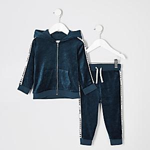 Mini - Blauwgroene outfit van velour met hoodie voor jongens