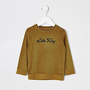Mini - Gele pullover met 'Little king'-print voor jongens