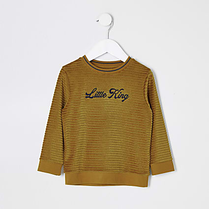 Mini boys yellow 'Little king' jumper