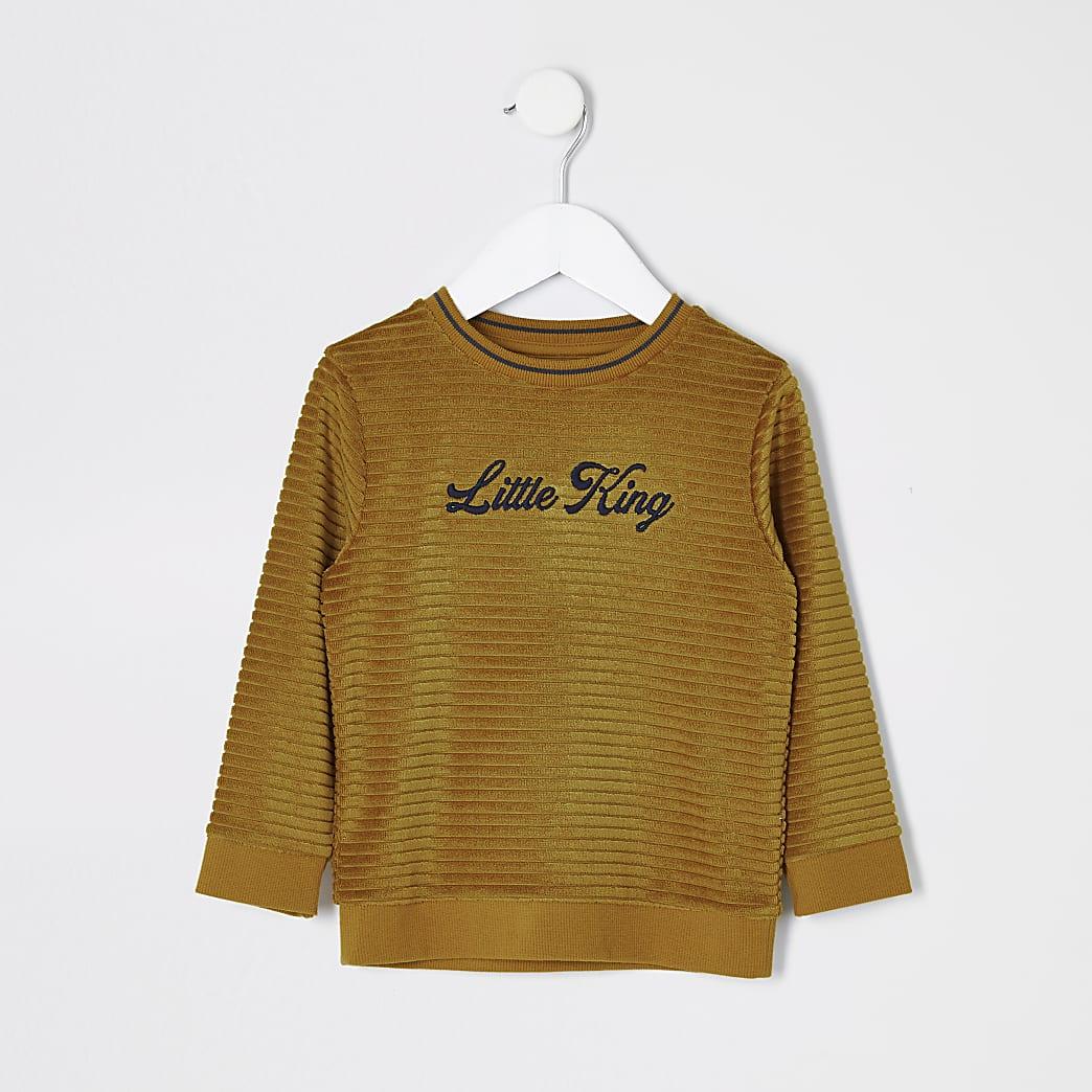 Mini boys yellow 'Little king' jumper