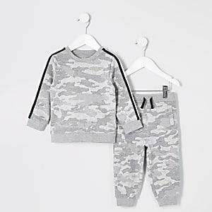 Ensemble avec sweat-shirt motif camouflage gris mini garçon