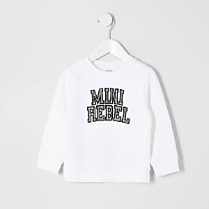 Mini - Wit sweatshirt met 'Mini rebel'-tekst voor jongens