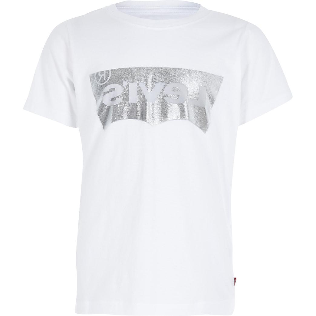 Boys Levi's white foil logo T-shirt