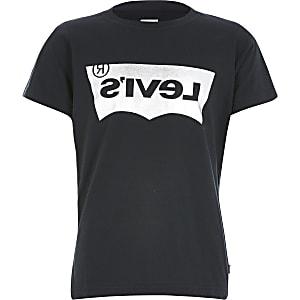 Levi's - Zwart T-shirt met folielogo voor jongens