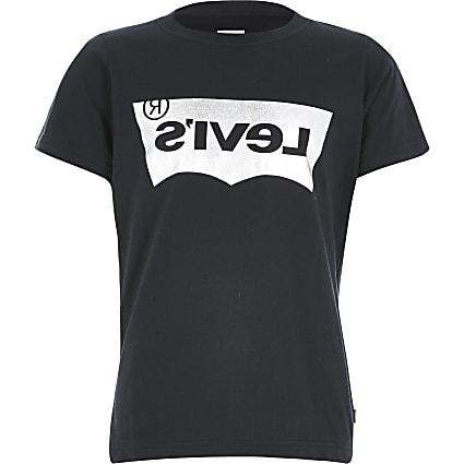 Boys Levi's black foil logo T-shirt