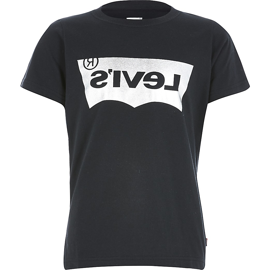 Boys Levi's black foil logo T-shirt