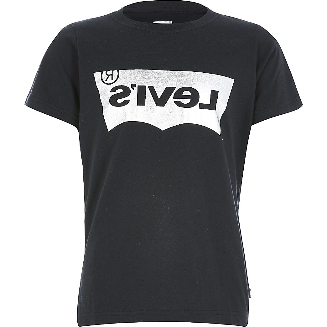 Levi's – Schwarzes T-Shirt mit Folienlogo