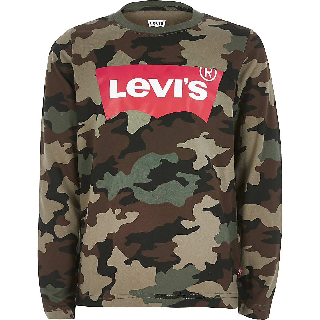 Boys Levi's khaki camo long sleeve T-shirt