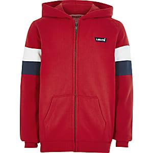 Levi's - Rode gestreepte hoodie met ritssluiting voor jongens