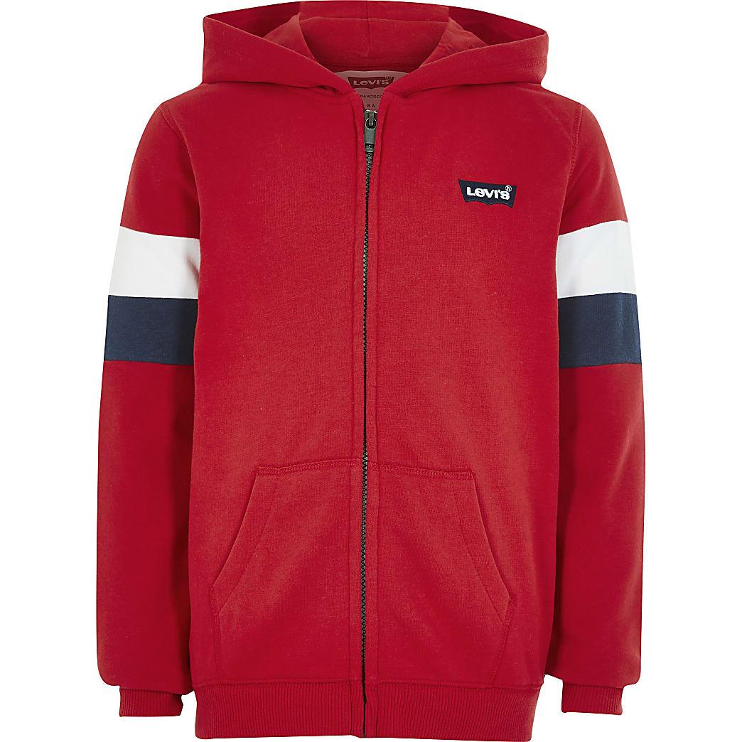 Boys Levi's red stripe zip through hoodie