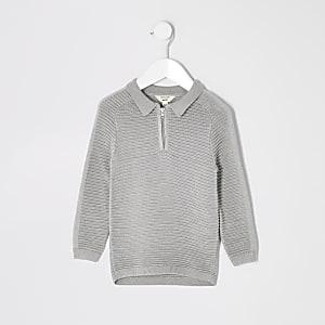 Langärmeliges, geripptes Poloshirt in Grau für kleine Jungen