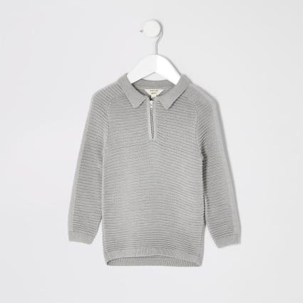 Mini boys grey ribbed long sleeve polo shirt